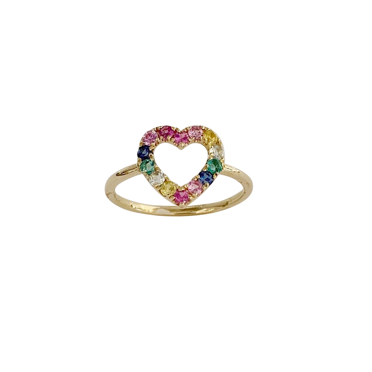 14KT GOLD MULTI-GEMSTONE OPEN HEART RING