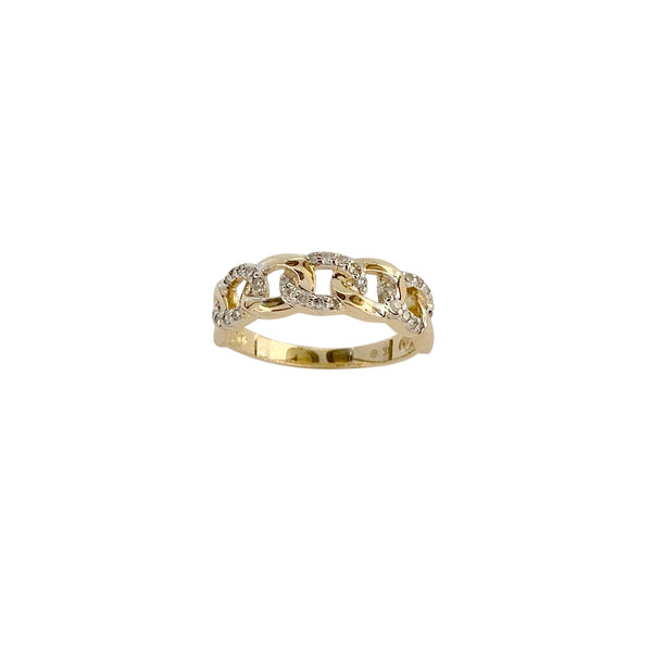 14KT GOLD DIAMOND OPEN LINK RING