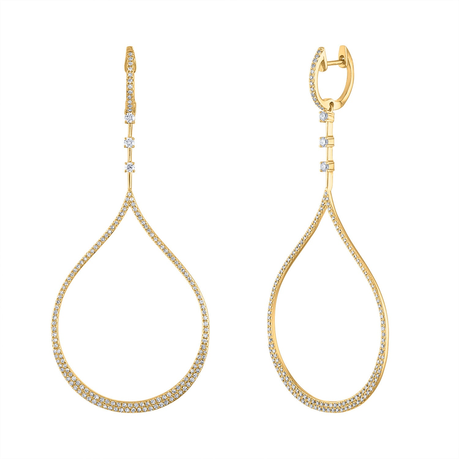 14KT GOLD DIAMOND WIDE OPEN TEARDROP HUGGIE EARRING