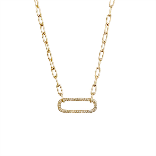 14KT GOLD DIAMOND OPEN RECTANGLE LINK NECKLACE