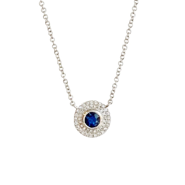 14KT GOLD DIAMOND BLUE SAPPHIRE CIRCLE NECKLACE