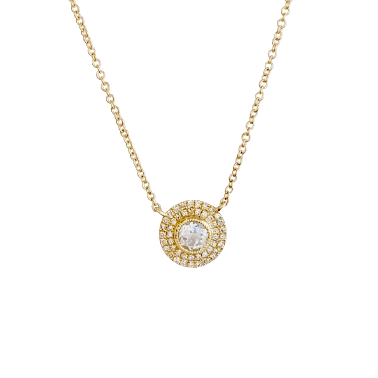 14KT GOLD DIAMOND WHITE TOPAZ CIRCLE NECKLACE
