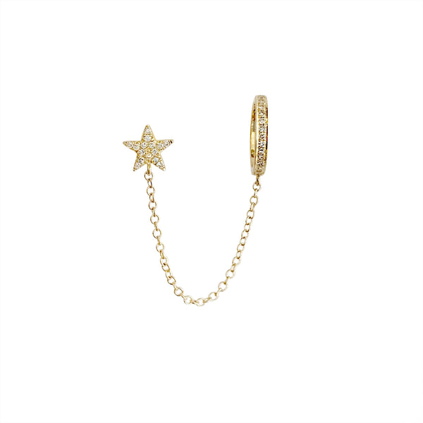 14KT GOLD DIAMOND STAR CHAIN CUFF EARRING