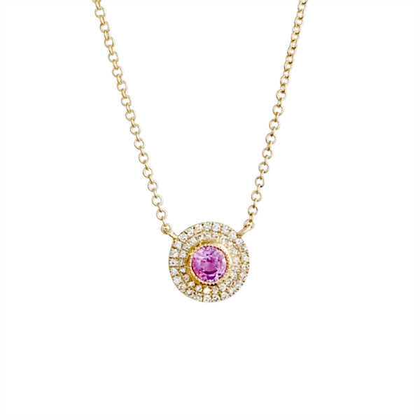 14KT GOLD DIAMOND PINK SAPPHIRE CIRCLE NECKLACE