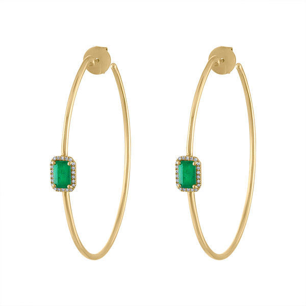 14KT GOLD EMERALD AND DIAMOND HOOP EARRING