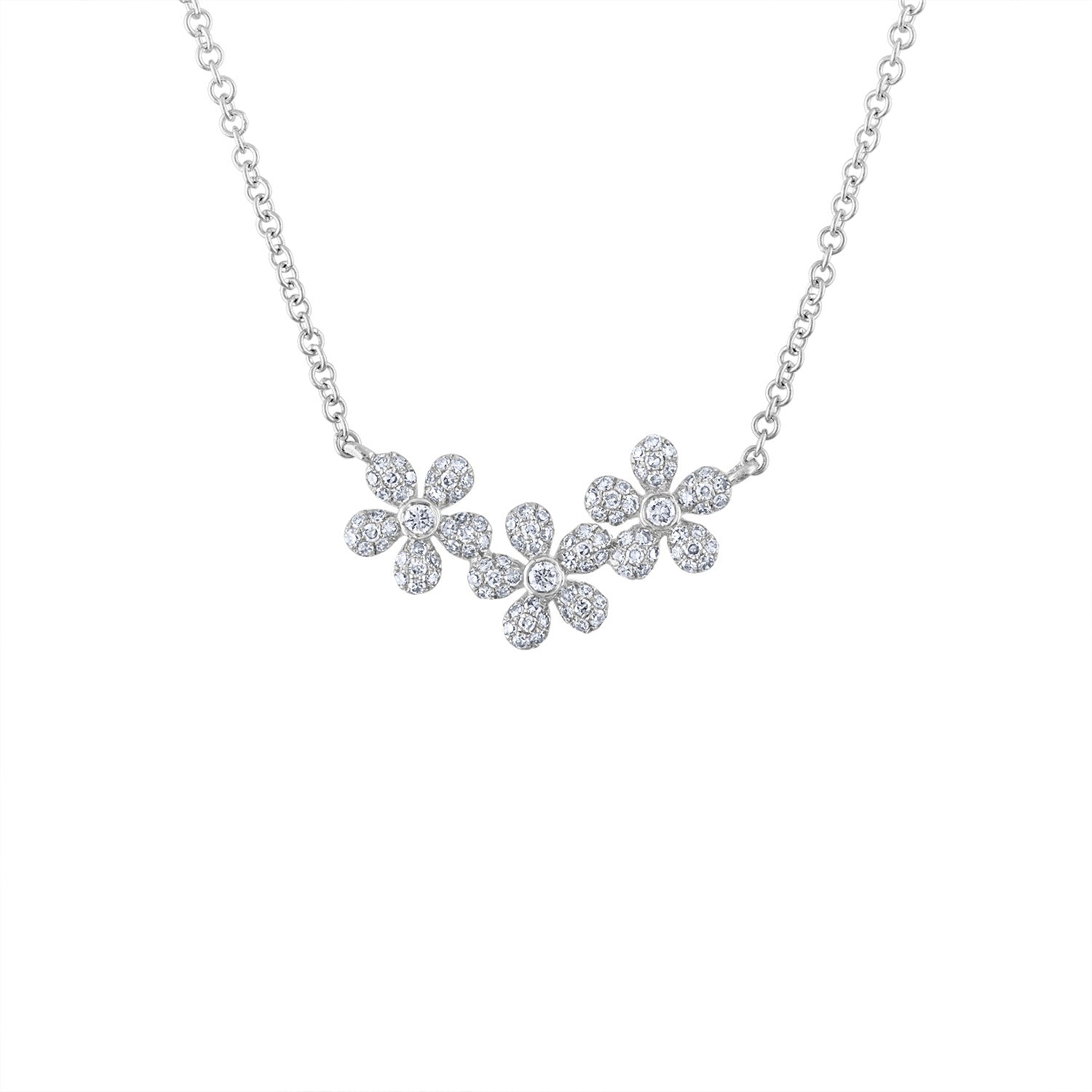 14KT GOLD DIAMOND DAISY NECKLACE