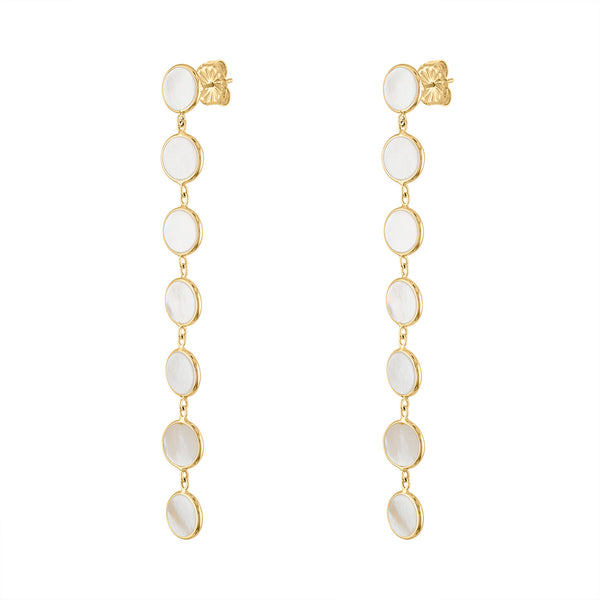 14KT GOLD MOTHER OF PEARL 7 CIRCLE POST EARRING