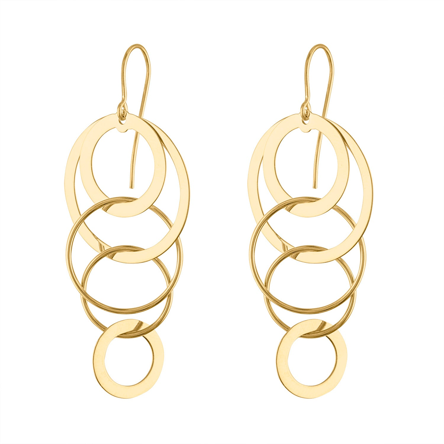 14KT GOLD INTERLOCKING CIRCLES EARRING