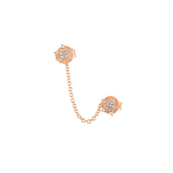 14KT GOLD DIAMOND STAR DOUBLE PIERCING SINGLE CHAIN EARRING