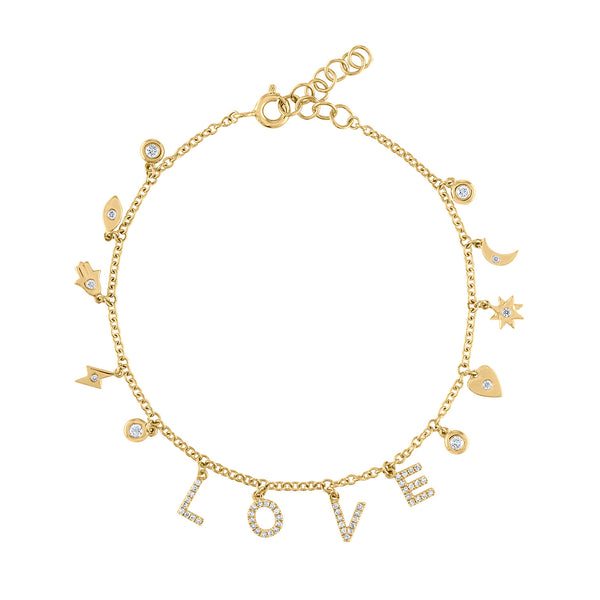 14KT GOLD DIAMOND LOVE AND MANY CHARM DANGLE BRACELET