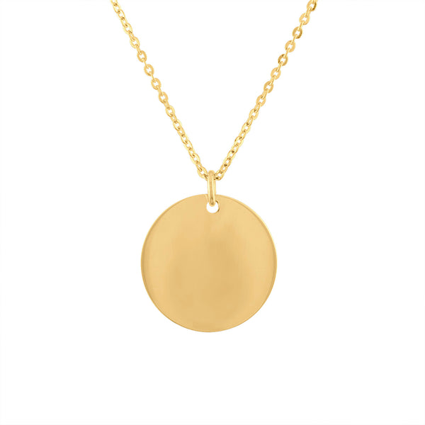 14KT GOLD ENGRAVABLE DISK NECKLACE