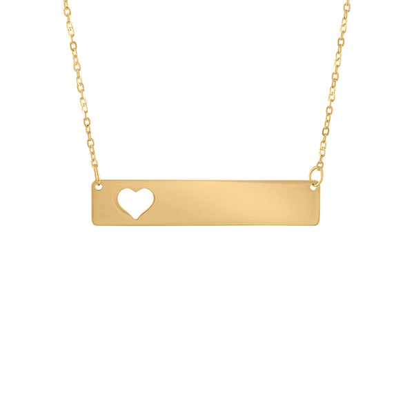 14KT GOLD CUT OUT HEART ENGRAVABLE BAR NECKLACE