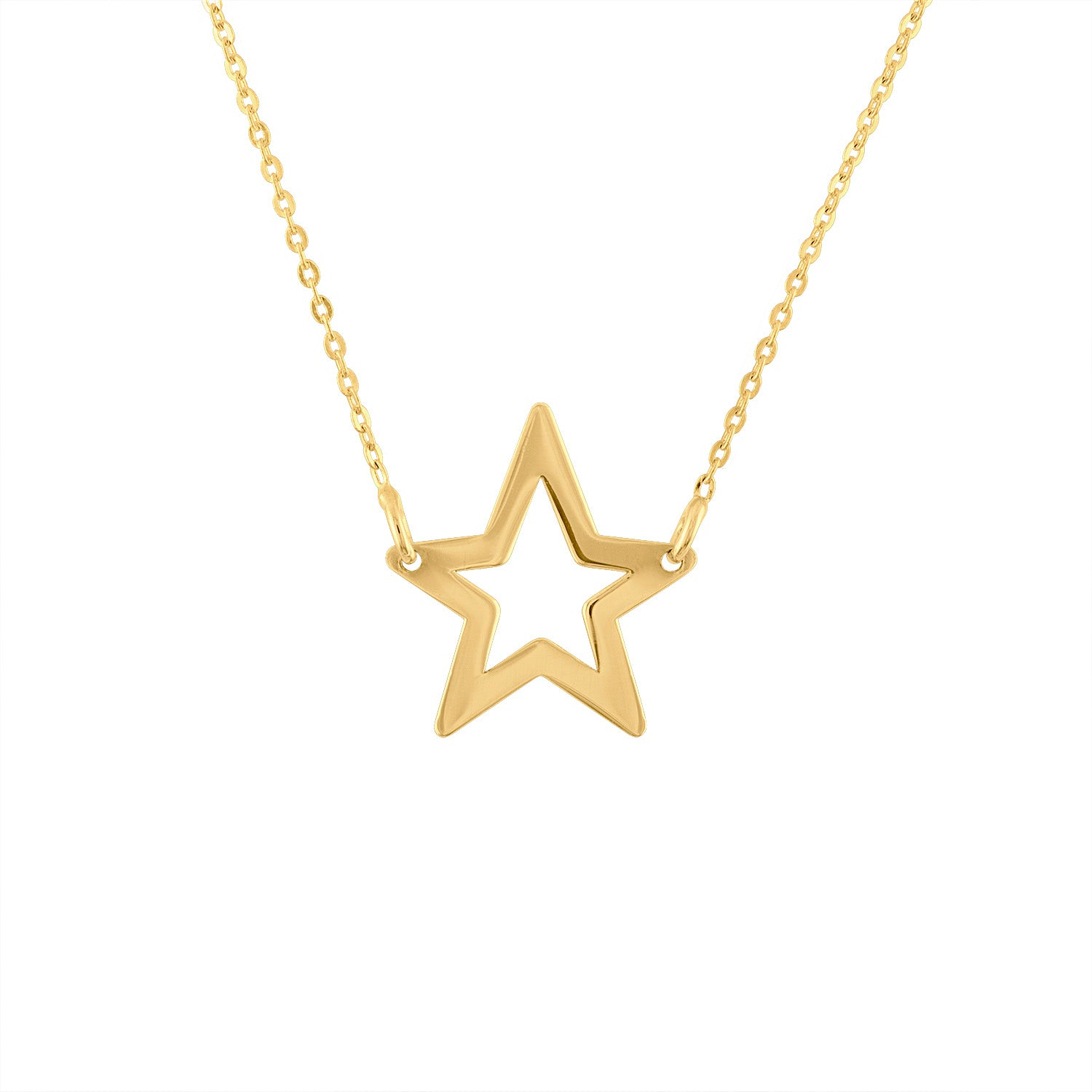 14KT GOLD OPEN STAR NECKLACE