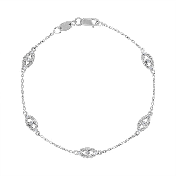 STERLING SILVER DIAMOND EVIL EYE BRACELET