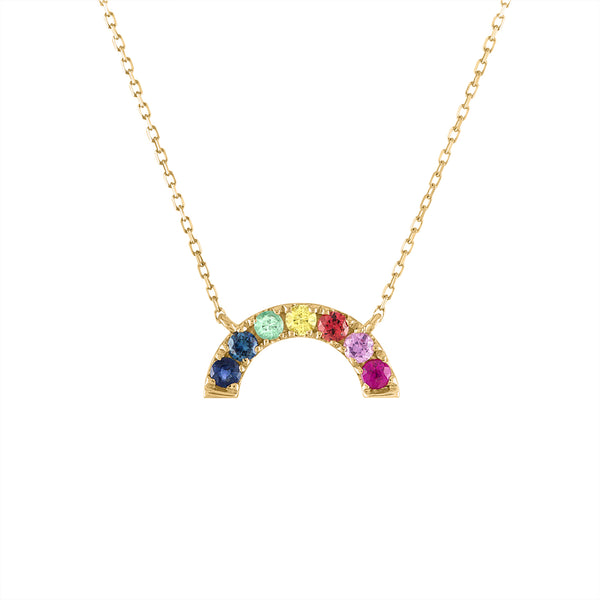 14KT GOLD MULTI-GEMSTONE RAINBOW NECKLACE