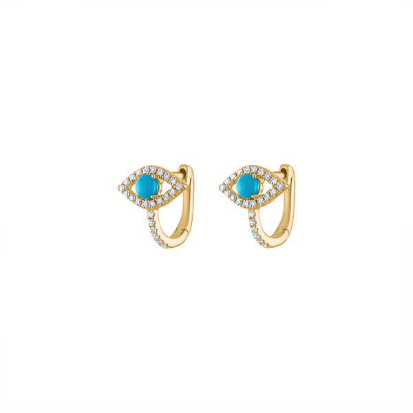 14KT GOLD DIAMOND TURQUOISE EVIL EYE HUGGIE EARRING