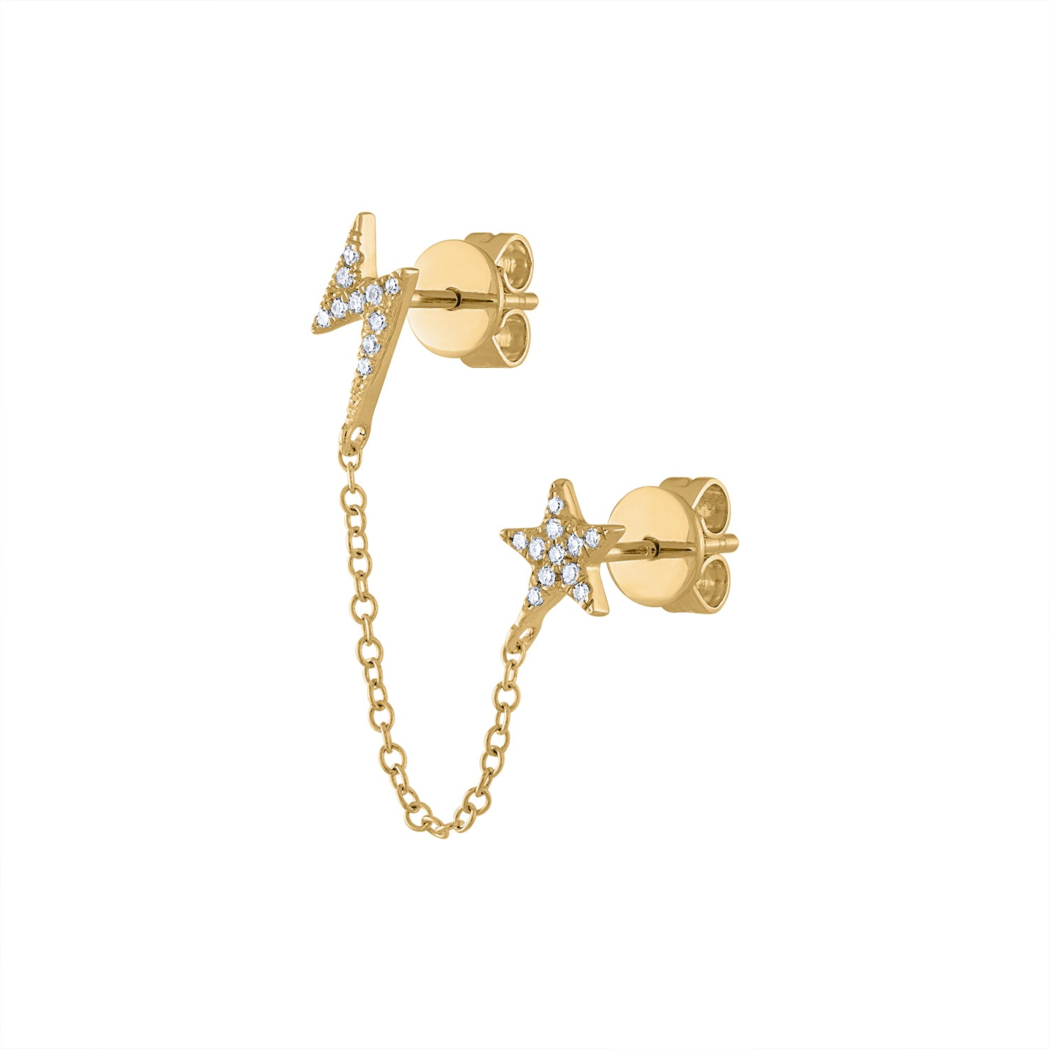 14KT GOLD DIAMOND STAR AND LIGHTNING BOLT DOUBLE PIERCING CHAIN EARRING