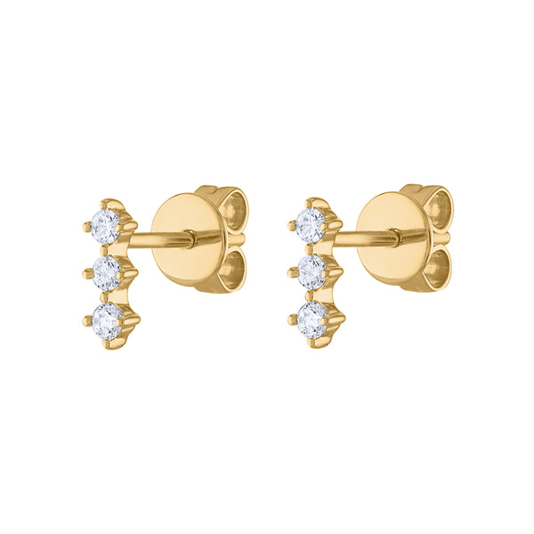 14KT GOLD THREE DIAMOND PRONG BAR EARRING