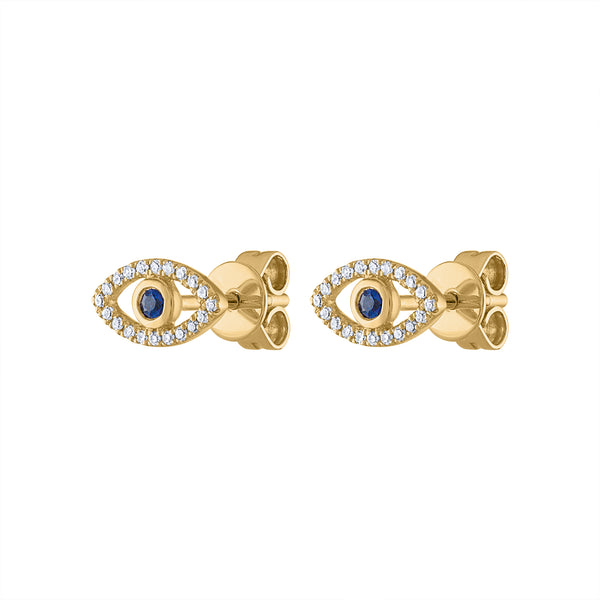 14KT GOLD DIAMOND EVIL EYE EARRING