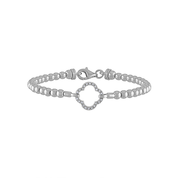 STERLING SILVER DIAMOND OPEN CLOVER BALL BRACELET