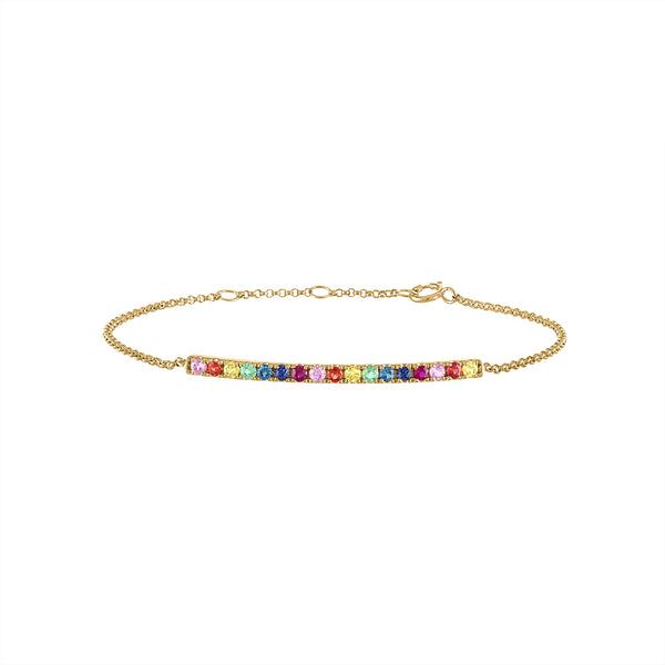 14KT GOLD MULTI-GEMSTONE CURVE BAR BRACELET
