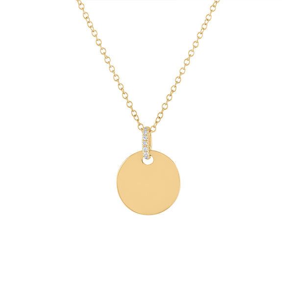 14KT GOLD SHINY DISK WITH DIAMOND BALE NECKLACE