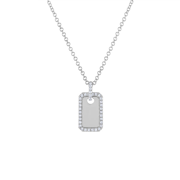 14KT GOLD DIAMOND MINI DOG TAG NECKLACE