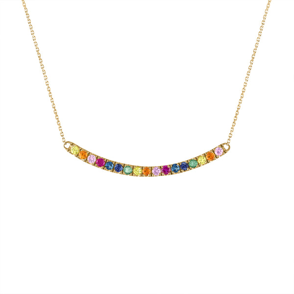 14KT GOLD MULTI-GEMSTONE CURVE BAR NECKLACE