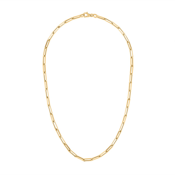 "14KT GOLD 16"" SMALL RECTANGLE LINK NECKLACE"