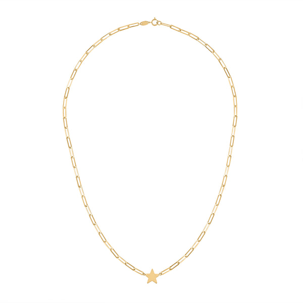 14KT GOLD STAR ON RECTANGLE LINK NECKLACE