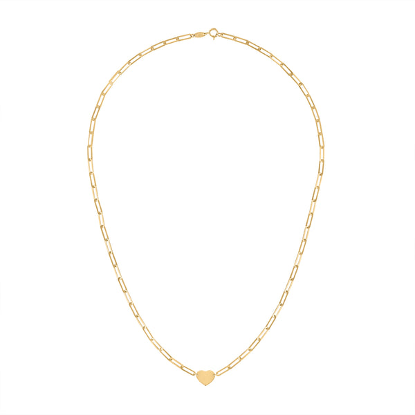14KT GOLD HEART ON RECTANGLE LINK NECKLACE