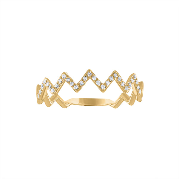 14KT GOLD DIAMOND ZIG ZAG RING