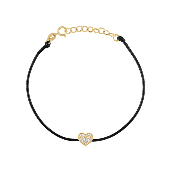 14KT GOLD PAVE DIAMOND HEART COLOR CORD BRACELET