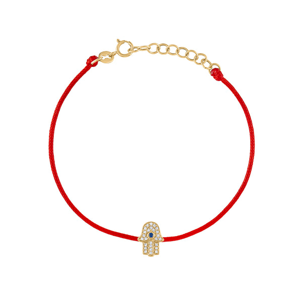 14KT GOLD DIAMOND HAMSA COLOR CORD BRACELET
