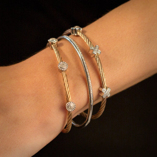 "STAINLESS STEEL DIAMOND ""X"" ROPE BRACELET"
