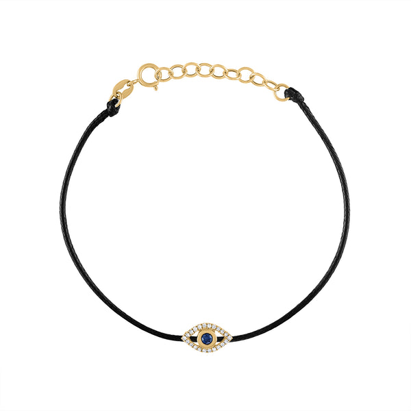 14KT GOLD DIAMOND EVIL EYE COLOR CORD BRACELET