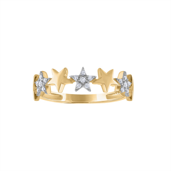 14KT GOLD DIAMOND 7 STARS RING