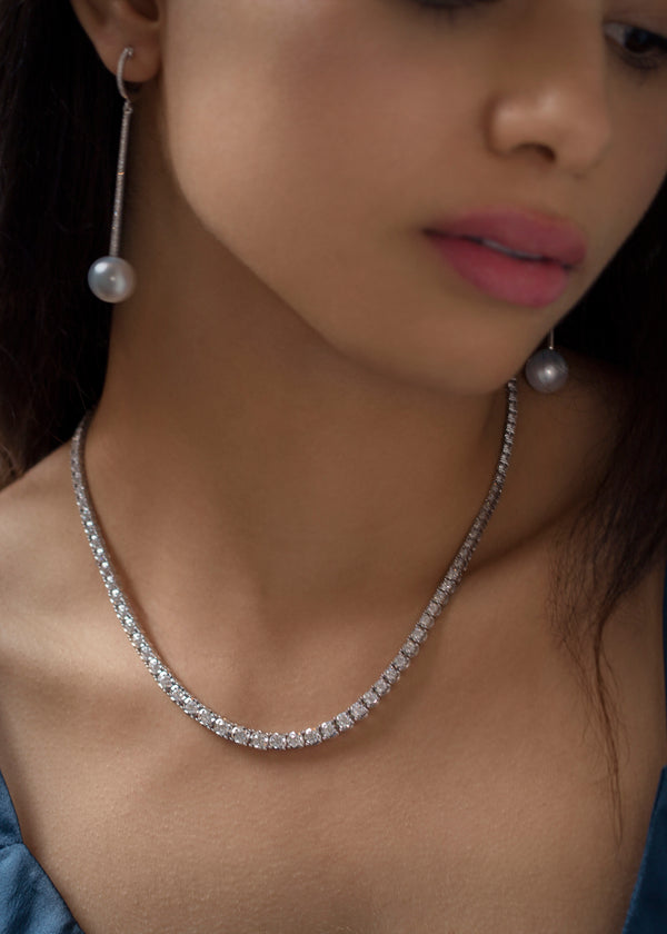 14KT WHITE GOLD GRADUATED DIAMOND TENNIS NECKLACE