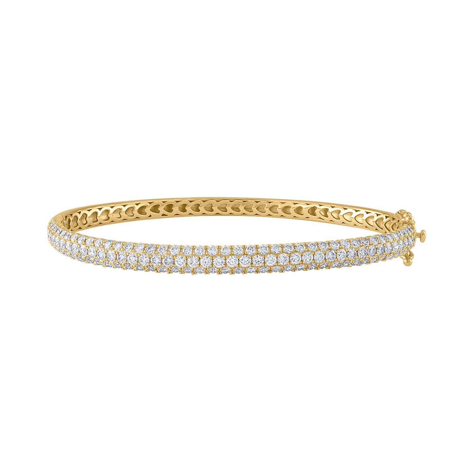 14KT GOLD THREE ROW PAVE DIAMOND BANGLE BRACELET