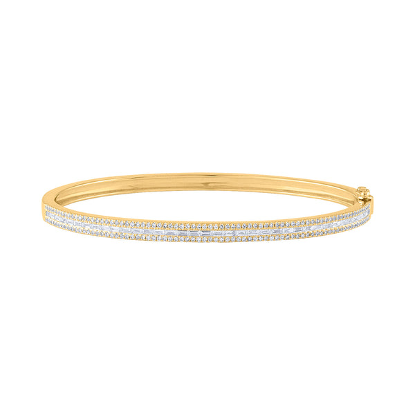 14KT GOLD DIAMOND BAGUETTE BANGLE