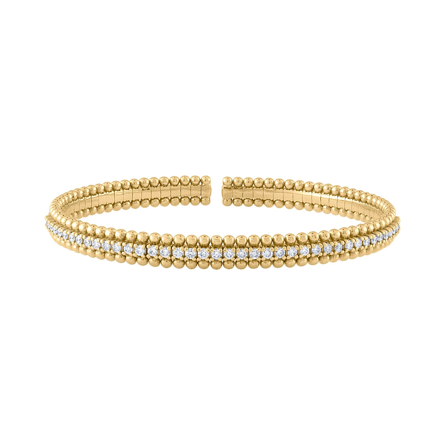 18KT GOLD DIAMOND AND MINI BALL CUFF BRACELET