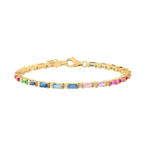 14KT YELLOW GOLD MULTI-COLOR BAGUETTE BRACELET