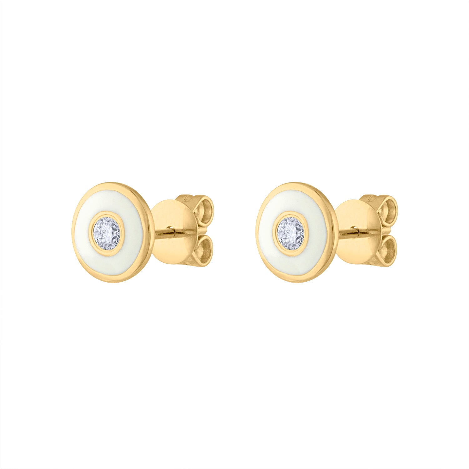14KT YELLOW GOLD DIAMOND WHITE ENAMEL CIRCLE EARRING