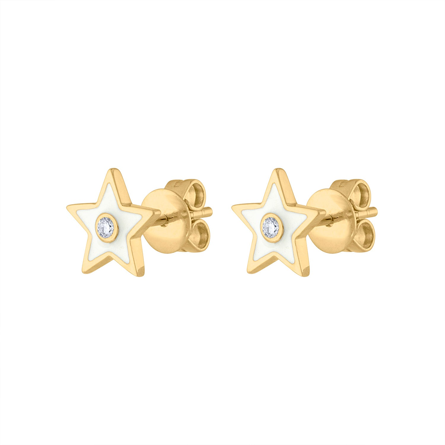 14KT GOLD DIAMOND WHITE ENAMEL STAR EARRING