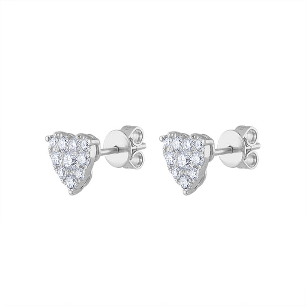 14KT GOLD DIAMOND HEART SHAPED EARRING