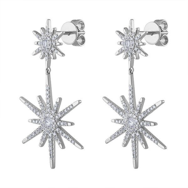 14KT GOLD DIAMOND DOUBLE STARBURST EARRING