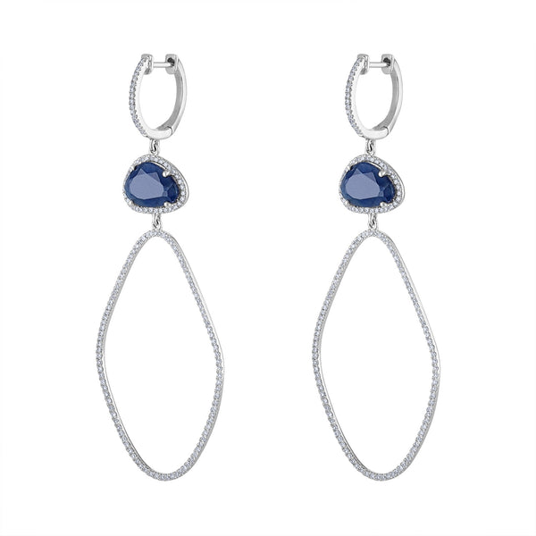 14KT WHITE GOLD DIAMOND AND BLUE SAPPHIRE ASYMMETRICAL EARRING