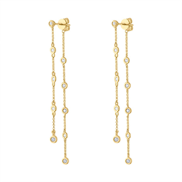 14KT GOLD BEZEL SET DIAMOND CHAIN FRONT BACK EARRING