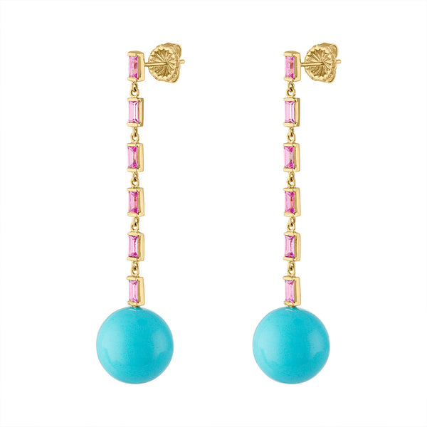 14KT YELLOW GOLD PINK SAPPHIRE BAGUETTE AND TURQUOISE BALL EARRING