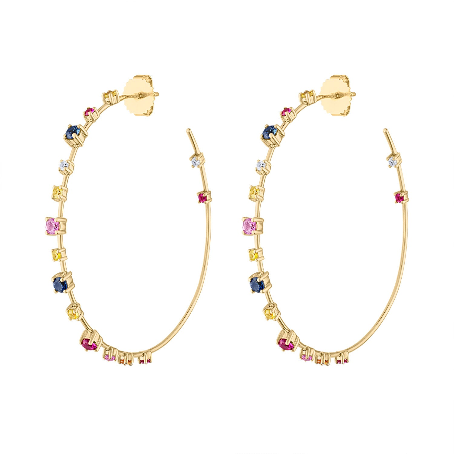 14KT GOLD MULTI-COLOR HOOP EARRING